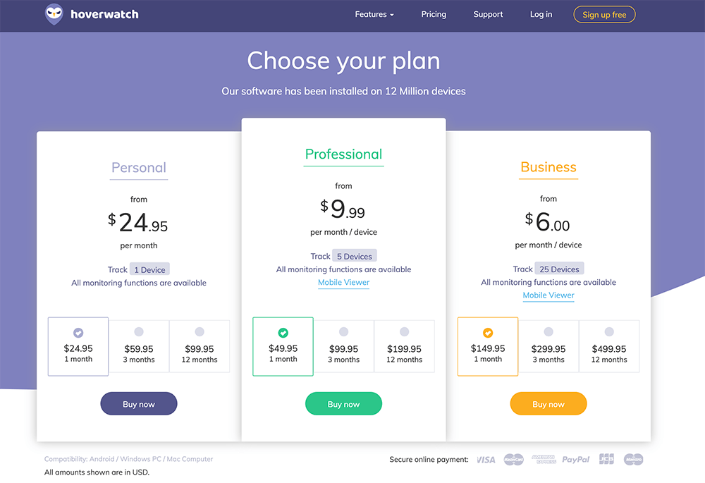 Choose your plan hoverwatch